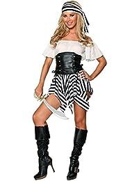 Aimerfeel-Damen Schwarz und Weiß Piratenkostüm Kleid schließt Bandana und g Strings Größe 34-38