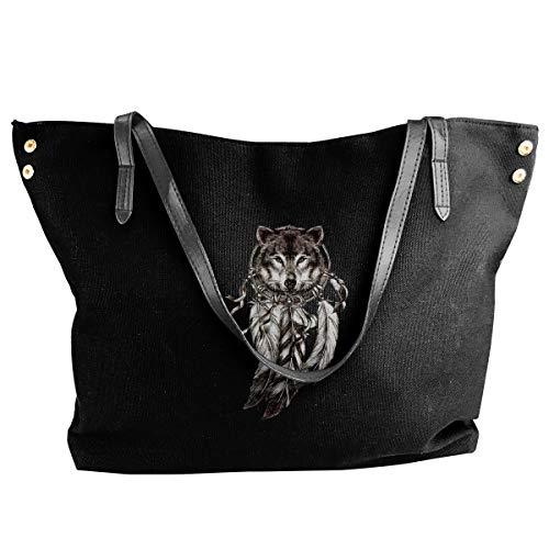Jiaojiaozhe Wolf Dreamcatcher Temporary Tattoo Women's Classic Shoulder Portable Big Tote Handbag Work Canvas Bag