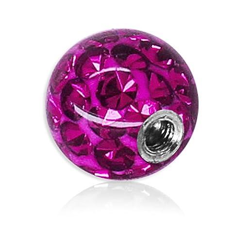 Cristal Gel Soul-cats® Piercing vis à billes Piercing Epoxy Ferido plusieurs tailles, couleurs: violet, des fils: 1,2 mm; taille d'une balle: 4mm
