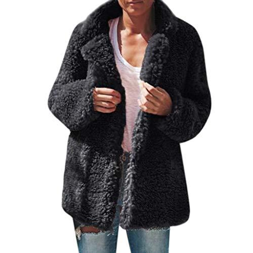 Damen Mantel Amcool Teddy Cardigan Faux Für Revers Oversize Plüschjacke Winterjacke Kurz Coat ParkaLange Ärmel Outwear Mit Tasche (Ärmelloses Wrap-top Faux)
