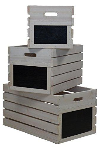 Verde Jem Vintage cajas de madera, color blanco envejecido, 46x 29x 24cm
