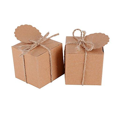 AONER 100 stück 5x5x5 cm Gastgeschenk Box (inkl. Jutschnur + Geschenkanhänger) Geschenkbox für Hochzeit, Taufe, Party usw. Pralinenschachtel süßigkeiten Bonboniere (Braun + Etiketten + Juteschnur) -