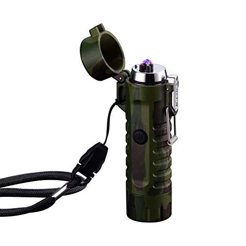 Dual Arc Feuerzeug mit Taschenlampe Double Plasma USB wiederaufladbare flammenlose wasserdichte winddichte Mini elektrische Feuerzeug (Mini-rohre Unkraut Für)