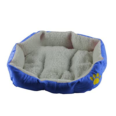 Blue Small Super Warm Soft Fleece Puppy Pets Dog Cat Bed House Basket Nest Mat Waterproof - low-cost UK light store.