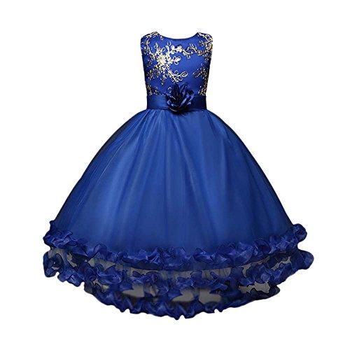 henkleid Prinzessin Hochzeit Party Geburtstag Kleid Lonshell Weihnachten Blumen Formal Brautjungfer Pageant Tutu Tüll Bogen Kleider (7T / 140, Blau) (Blau Bögen)