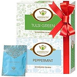 Goodwyn Peppermint Tea, 20 Tea Bags and Tulsi Green Tea, 20 Tea Bags