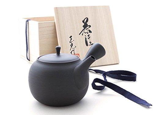 Gyokko - Japanische Tee-Kanne Tokoname SENDAN Sen KAKU mit Geschenk-Box. Schwarz, Handmade auf der Töpfer-Scheibe. Unglasiert, integriertes Keramik-Sieb