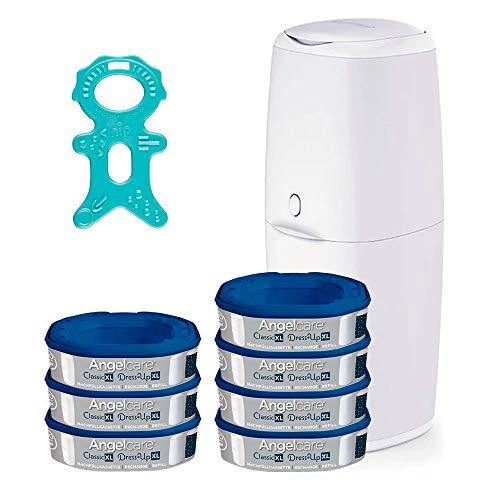 Angelcare® Classic XL Starter-Set: Windeleimer (rückenfreundliche Höhe 69cm) + 7 Nachfüllkassette + Nip® Beißmännchen