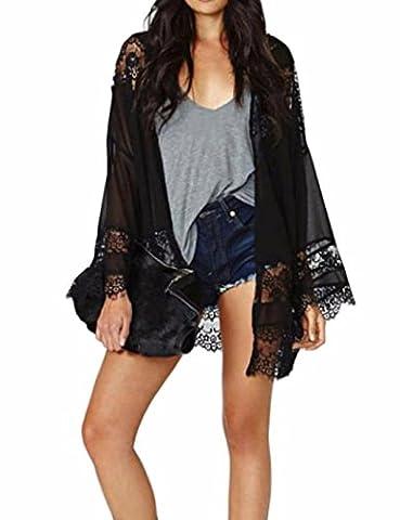 Transer ® Manteaux Femme,Mode Femmes Manches longues Dentelle Splicing creux en mousseline de soie Kimono Cardigan Blouse Tops Coat Noir(S-L) (M)