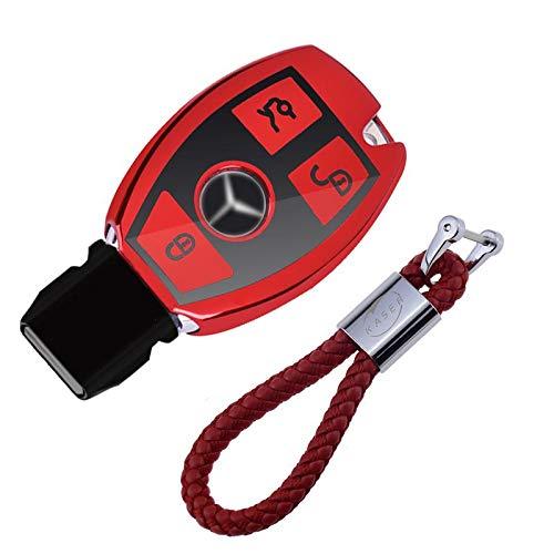 Coque en Silicone pour Clé Mercedes - Cover Housse TPU Souple en Chrome pour Télécommande Keyless...