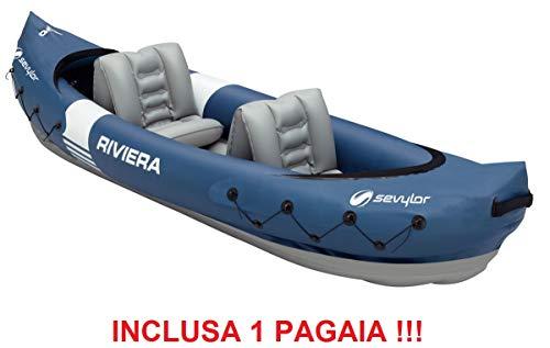 ALTIGASI Canoa Kayak Gonfiabile Riviera SEVYLOR 2 POSTI - PVC Ultra Resistente + Inclusa 1 PAGAIA E Kit Riparazione