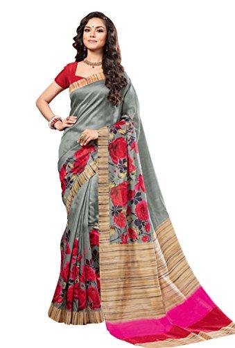 EthnicJunction Silk Saree with Blouse Piece (2024_Dark_Green_Free Size)