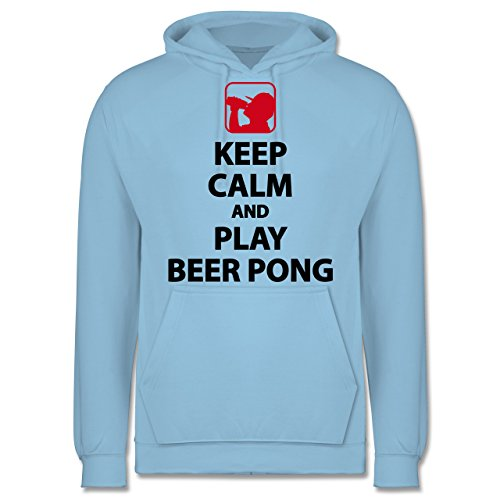 Festival - Keep Calm and Play Beer Pong - S - Hellblau - JH001 - Herren Hoodie