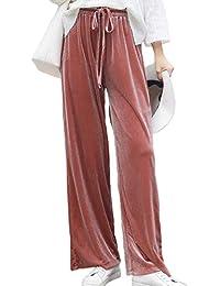 Vepodrau Pantalones Palazzo Cintura Elástica Casual Pierna Ancha Terciopelo  Mujer 578c4645b4fa
