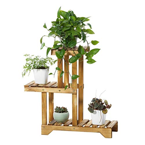 WYJW Blumenständer Flower Ladder Rack 3-stufige Holz Multi-Tier Indoor Outdoor Topf Regale Sukkulenten Holzkohle Farbe (Größe: L71cm X B25cm X H66cm) - Regale 3-tier-ladder