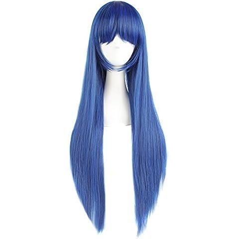 MapofBeauty 80cm/ 31 pulgada largo lacio seorita lacio anime traje Pelucas (oscuro azul / negro)