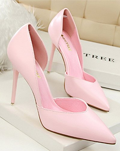 Minetom Damen Klassischer Geschlossene Pumps Lackleder High Heel Schuhe Partei Spitz Stiletto Rosa