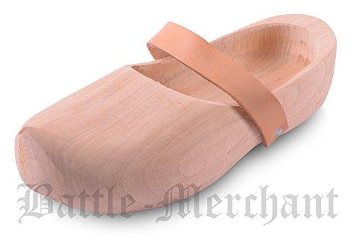 Holzschuhe mit Lederriemen Gr. 34 - 47 - Clogs - Klunschen Clogs klompen - Mittelalter - LARP - Wikinger Beige