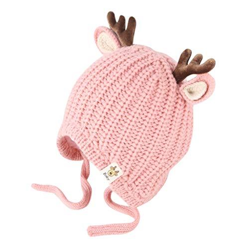 Weihnachten Cartoon Hirsch Kappe Unisex Christmas Baby Mütze Rentier Beanie Strickmütze Unifarbe Wintermütze Earflap Häkeln Sie Warm Winter Baby Weihnachtsmütze Gehäkelt mit niedlichem Elch-Gewei