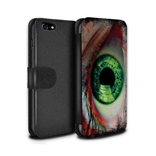 Stuff4 Coque/Etui/Housse Cuir PU Case/Cover pour Apple iPhone 7 / Noir/Blanc Design / Yeux/Iris Collection Vert