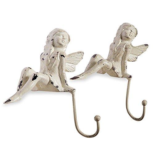 Loberon Haken 2er Set Angel, Eisen, H/B/T ca. 16,5/14,5/13,5 cm, Creme