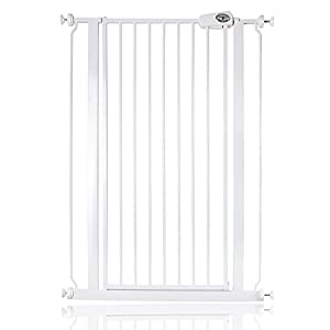 Bettacare Child and Pet Gate, 75-83 x 104 cm, White Safetots MEASURE YOUR OPENING BEFORE PURCHASING - This gate kit with extensions fits openings 97 up to 133 cm using the two included 9 cm and 18 cm extensions. It will not fit any opening smaller than 97 cm. If your opening is larger than 133 cm you will require an additional purchase of an extension. VERSATILE AND DEPENDABLE- Our Dreambaby Chelsea gate is loaded with features to not only help make your life easier but safer too. Versatile indeed, it can accommodate openings of 97 up to 133 cm wide and is 75 cm tall. Using optional extensions sold separately, the gate can be extended up to 506 cm. ONE HANDED OPERATION - The One-Handed operation is fantastic for times when you're holding your child and the double locking feature ensures extra security to help keep your child safer. 5
