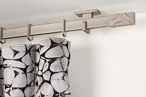 Incasa bastone per tende 31x12 mm rettangolare, l. 160 cm. in acciaio satinato - completo