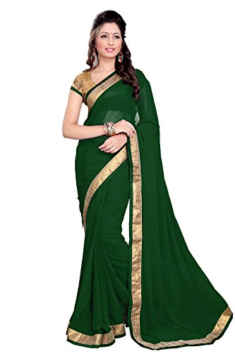 Sourbh Faux Georgette Lace Saree (6351 _Green) Faux Georgette Saree
