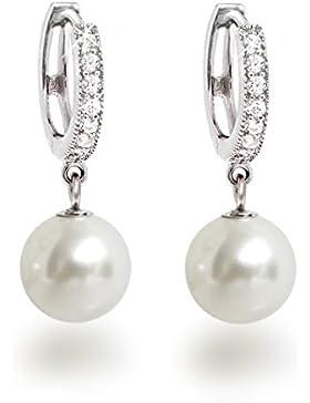 Schöner-SD, Ohrringe 925 Silber Rhodium Creolen mit glitzernden Zirkonia und 10mm Perle rund Perlenohrringe