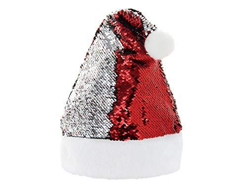 Alsino Weihnnachtsmütze Santa Hut Ø 18 cm mit Pailletten Wendepailletten für Damen und Herren, Farbe:WM-120 rot Silber