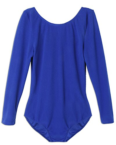iEFiEL Kinder Mädchen Body Langarm Gymnastikanzug Ballettanzug Turnanzug Ballett Trikot Tanz Kleidung Dunkel Blau 128 (Kinder-kleidung Blaue)