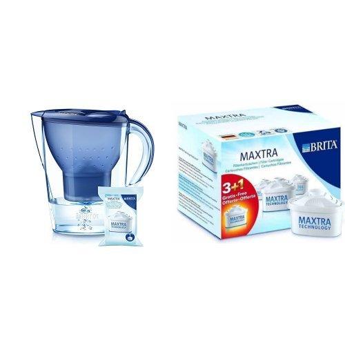 BRITA Marella XL - Jarra con filtro de agua 3.5 L, color azul + pack de recambio de 4 filtros