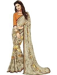 Glory Sarees Women's Printed Weightless Saree(sensation6301b_light Olive)