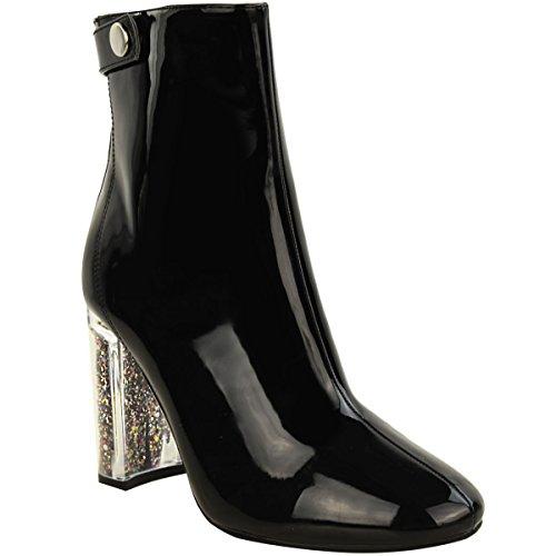 Neuf Pour Femmes Mesdames Bottines Paillette Perspex Talon Haut Bloc Mode Chaussures Pointure Noir verni