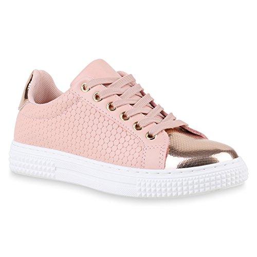 Sneakers Low Damen Lack & Glitzer Turnschuhe Freizeit Schuhe Rosa Lack