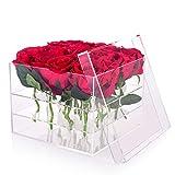 Wefond Clear Acrylic Flower Box Vaso dell'acquazzone Vaso decorativo quadrato Rosa Pot regalo di fiori di nozze Organizzatore trucco, 16 fori