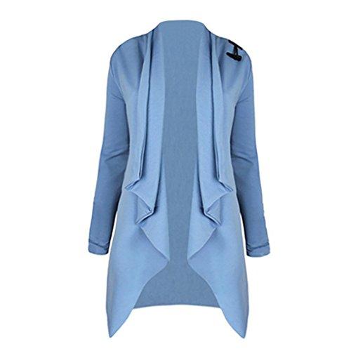 Vovotrade ❀❀ Neueste Entwurfs lange Hülse geöffnete vordere Wolljacke Art und Weisejacke (Size:M, Blau)