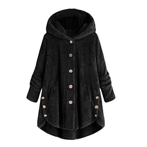 iHENGH Damen Herbst Winter Bequem Mantel Lässig Mode Jacke Mode Frauen Knopf Mantel Flauschige Schwanz Tops Mit Kapuze Lose -