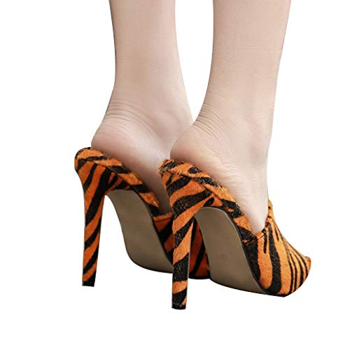 Deloito Sommer Damen Hausschuhe Spitz Haarige Pantoffeln Zebra Leopard Muster Mit Hohem Absatz Sandalen High Heel Pantoffeln Strände Schuhe (Braun,38 EU) Zebra Wedge Flip Flop