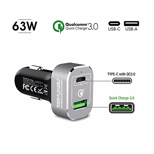 63 Watt - 12V Auto USB-A & USB-C KFZ Ladegerät - Power Plug Mobile - Quick Charge 3.0 & PD/Power Lieferung - Ladegerät für MacBook und Smartphone - Extrem Leistungsstark Power Mobile Plug