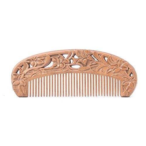 skylive Holz Kamm, natürlichen Pfirsich Holz no-static Kamm für Bart, Haar M brown 5