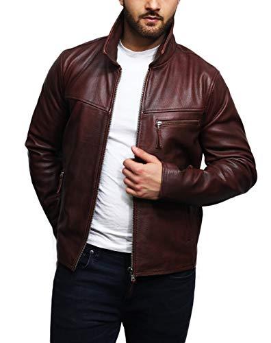 Brandslock Herren Echtes Rindsleder Biker Jacke Harrington Brando (XL, Tan Cognac)