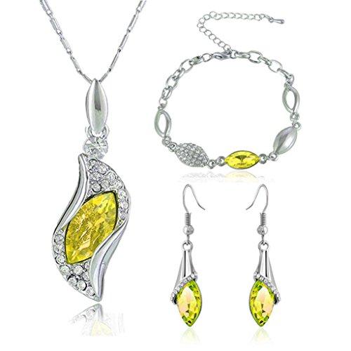 Hunpta Mode Stil Schmuck-Set Crystal Chic Augen Tropfen Ohrringe Halskette Armband DIY (Gelb) (Rock Crystal Damen-t-shirt)