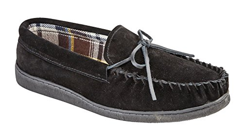 Mens Jo & Joe New England Real Suede Leather Moccasin Slippers Size 7-12 (UK 9, Black)