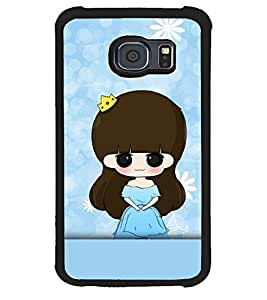 Fuson Premium Blue Little Girl Metal Printed with Hard Plastic Back Case Cover for Samsung Galaxy S6