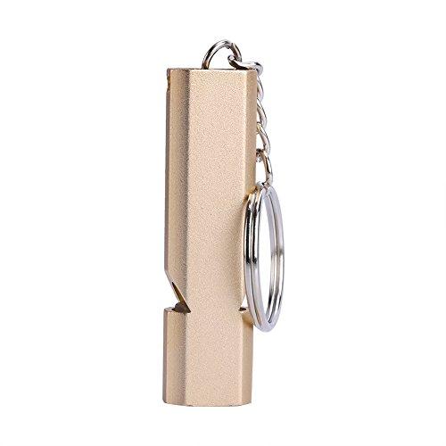 Sifflet D'urgence De Survie Double Trou De Sauvetage En Aluminium À Haute Fréquence Avec Porte-clés Pour Randonnée Camping En Plein Air