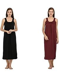 Ishita Fashions Cotton Gown Slip - Cotton Nighty - 2 PCs - Black and Maroon