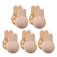 Nipplecovers Reusable Breast Lift, FOONEE 5 Pairs Strapless Backless Self Adhesive Invisible Breast Lift Cups 11/13cm Diameter for B/C/D/E Cups, Breathable Lifting Bra Tape for Women