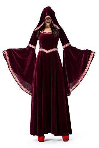 Kostüm Größentabelle Wicked - DoLoveY Damen Hohepriester Kostüm Mittelalter Kapuzenkleid Nonne Helloween Hexe Kleid Medium Witch Costume Robe