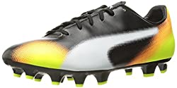 PUMA Mens Evospeed 4.5 Graphic FG Soccer Shoe, Black/White/Safety Grey, 9.5 M US
